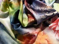 BREATHTAKING Designer Silk Charmeuse!! Watercolor Peonies Print! FABULOUS!