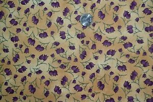 """Cotton quilting fabric 43"""" x 3.25 yards, floral print, purple & tan"""
