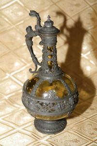 Old pewter glass stein decanter carafe jug 1900 Lichtinger Theresienthal Germany