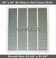 "Air Return Vent Cover Grille 20"" x 20"" Duct Size White Wall Sidewall Ceiling"