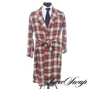 Vintage Orvis Viyella Wool Cottton Flannel Red Multi Tartan House Smoking Robe S