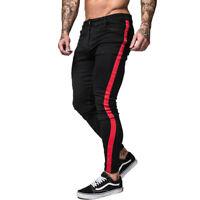 GINGTTO Men Skinny Jeans Black Stretch Slim Fit Biker Denim Trousers Red Striped