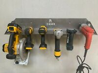 Tool Holder 6-Slot Drill Impact Garage Storage Steel Metal Rack Shelf Organizer