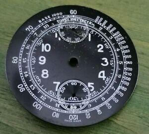 No Name NOS Venus 170 Caliber Chronograph Dial Original Telemetre Black Dial