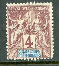 Guadeloupe 1892 French Colony 4¢ Scott #29 Mint H135