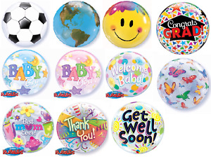 """22"""" Qualatex Bubbles Latex Helium Air Balloon Baby Shower Decorations Pink Blue"""
