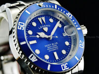 NEW Legend Men Submariner Deep Blue Diver Automatic Sapphitek BLUE Dial SS Watch