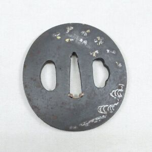 D1912: Real old iron TSUBA (Japanese sword guard) w/good quality, silver inlay