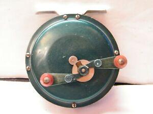 Ancien moulinet de pêche en métal aluminium vert Peerless? Bam? Mitchell?