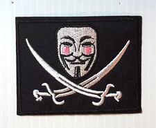 Guy Fawkes Masque Drapeau de Pirate Logo 8.9cm Brodé Patch-Usa Mailed (GFPA-11)