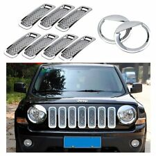 9pcs Chrome Front Grille Mesh Insert Headlight Covers Trim Set For Jeep Patriot