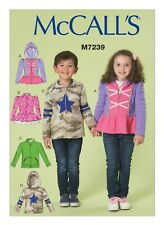 McCall's Sewing Pattern M7239 Children's Boys' Girls' 2-5 easy  Zippered Jackets