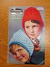 VINTAGE BESTWAY Knitting Pattern Children Toddler Helmet & Bonnet 1 - 4 years DK