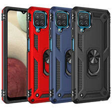 For Samsung Galaxy A12 Military Rugged Double Layer Armor Ring Holder Cover Case