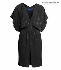 NEW JIMMY CHOO FOR H & M BLACK BEADED EMBELLISHED DRESS WITH FRONT SLIT SIZE 10