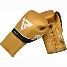 RDX C3 Gold Pro Boxing Gloves 10oz Lace Fastening Sparring Training Fight