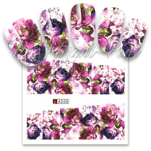 Full Nail Water Decals, Nail Stickers, Wraps, Purple Peonies, Flowers, Lilac