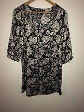 Store Twenty un vestido de Cambio Negro Estampado Floral Blanco Talla 12 < R3838