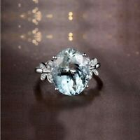3Ct Oval Cut Aquamarine Vintage Solitaire Engagement Ring 18K White Gold Finish
