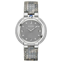 Bulova Women's Quartz Rubaiyat Diamond Accents Grey Leather 35mm Watch 96R218