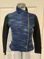 Dolan Left Coast Collection Anthropologie Blue Tweed Moto Jacket, Size Small