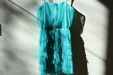 BCBGeneration Strapless Tulle Tiered Dress Aqua Foam Small S
