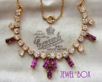 VINTAGE 1950s Gorgeous Amethyst Baguette CRYSTAL Diamond RHINESTONE NECKLACE