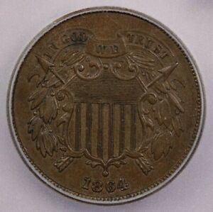 1864-P 1864 Two-Cent Piece ICG MS63 BN Large Motto