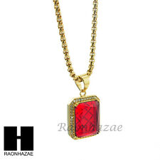 """MEN ICED OUT 316L STAINLESS STEEL RED RUBY PENDANT W 24"""" BOX CHAIN NECKLACE S220"""