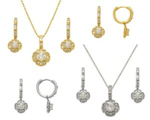 14K Solid Yellow White Gold CZ Flower Huggie Earrings Pendant Jewelry Set
