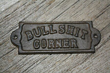 3 Cast Iron Bullshit Corner Door Plaque Garden Sign Ranch Wall Decor Man Cave