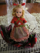"Vintage Plastic Doll Blonde Red Green dress 7 1/2"" Good cond sold As/Is - #01"