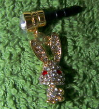 1 Cellphone 3.5mm Rhinestone Dust Plug Cute Gold Rabbit