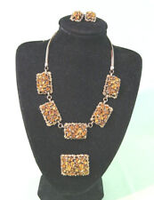 Barclay Orange Amber Rhinestone Brooch Pin Necklace Earrings Set Goldtone Signed