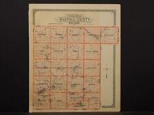 Wisconsin Waupaca County Map 1923 Waupaca Mirror Shadown Lake Double Sided O5#15