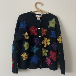 Large Womans Vintage Wool Blend Star Sweater By Robert Scott