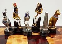 Egyptian Anubis Chess Men Set Gold & Silver W/ Color Accents - NO BOARD