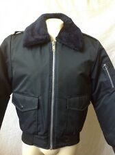 Vintage Men's Nylon Bomber Jacket JC Penney Navy Blue, Orange Quilt Lining M