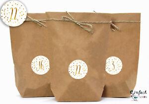 DIY Adventskalender Gold gelb gepunket 24 Geschenktüten Garn & Aufkleberzahlen