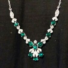 Vintage Signed BOGOFF Necklace with Green Rhinestones Silvertone GORGEOUS