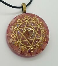 Rhodochrosite, Ethiopian Opal, & Rose Quartz Heart Chakra Orgone Necklace