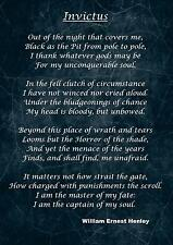 INVICTUS Inspirational Motivational Poem Quote Poster Print