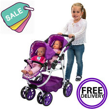 Girls Double Buggy Baby Push Chair Dimples Ella Tandem Stroller Twin Dolls NEW