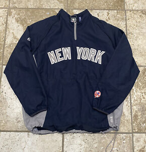 Majestic Navy Cool Base New York Yankee Zippered Pullover Jacket Size L NY Times
