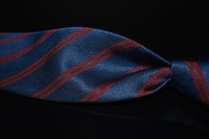Brooks Brothers Makers Italian Silk Navy Hobnail Red Grosgrain Twin Stripe Tie