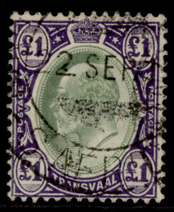 SOUTH AFRICA - Transvaal EDVII SG272a, £1 green & violet, FINE USED. Cat £25.