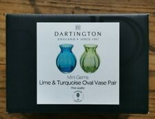 Dartington Mini Gems Pair Of Lime And Turquoise Oval Vases