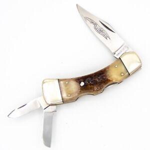 1980s PARKER Japan Pocket Knife DOUBLE LOCKBACK REVERSE WHITTLER Bone