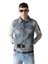 DIESEL Denim Patched Jacket X-Large XL Blue Washed Out Cotton Special Edition