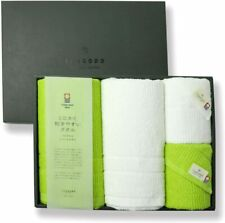 New listing Imabari Towel Bath and Face Towel 2 pieces each Light green x whit Made in Japan